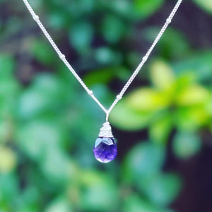 amethyst karma drop necklace | sterling silver