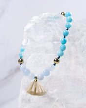 amazonite + aquamarine + pyrite stretch bracelet