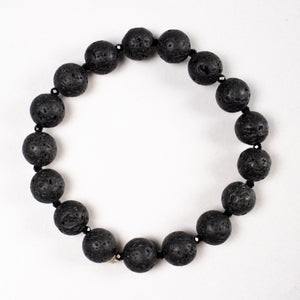 lava stone + black spinel stretch bracelet