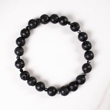Load image into Gallery viewer, lava stone + snowflake obsidian stretch bracelet