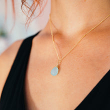 blue chalcedony gemstone necklace 14k gold filled handmade