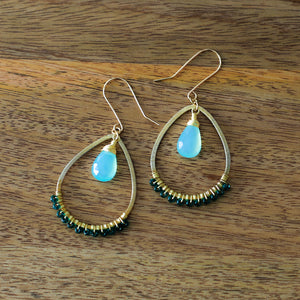 bohemian gold hoop statement earring with blue chalcedony and wire wrapped turquoise seed beads