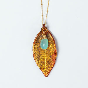 iridescent copper evergreen leaf and blue chalcedony