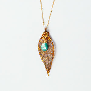 iridescent copper evergreen leaf and teal moonstone gold filled necklace