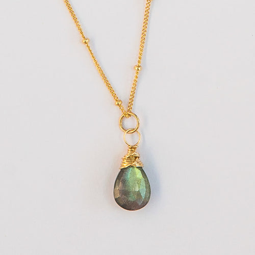 labradorite karma drop necklace