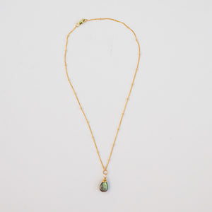 labradorite karma drop necklace | gold