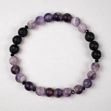 Load image into Gallery viewer, amethyst + black lava stone stretch bracelet