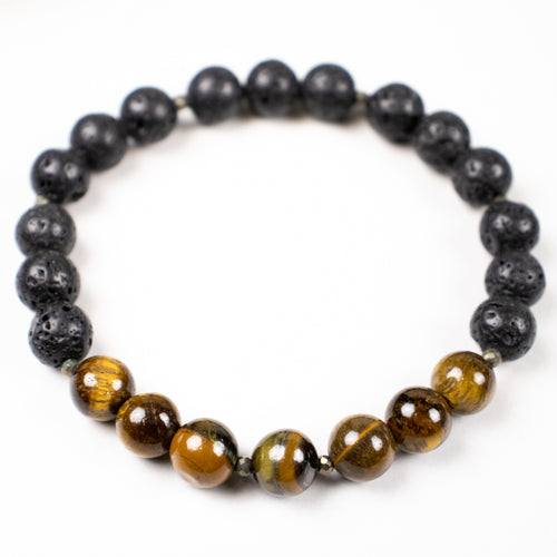 lava stone + tiger eye + pyrite stretch bracelet
