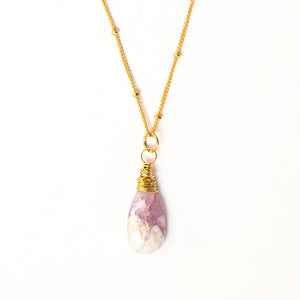lavender rose quartz gemstone necklace 14k gold filled sterling silver handmade