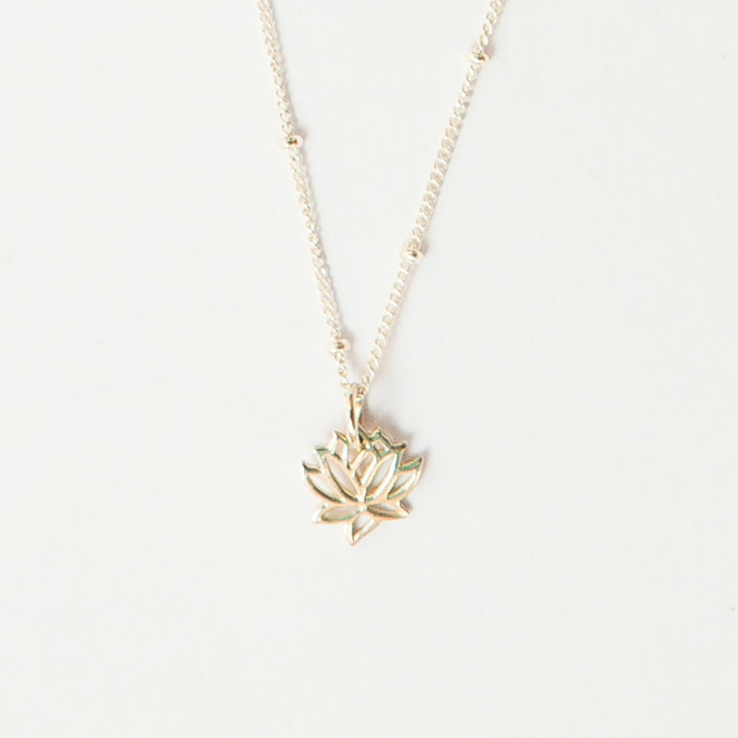 little lotus necklace gold filled 14k heavy gold plated sterling silver