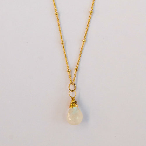 rainbow moonstone gemstone necklace 14k gold filled handmade