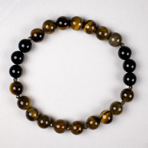 tiger eye + onyx + pyrite stretch bracelet | 8mm stones