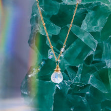 Load image into Gallery viewer, rainbow moonstone karma drop necklace
