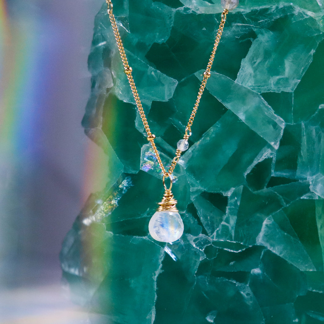 rainbow moonstone karma drop necklace