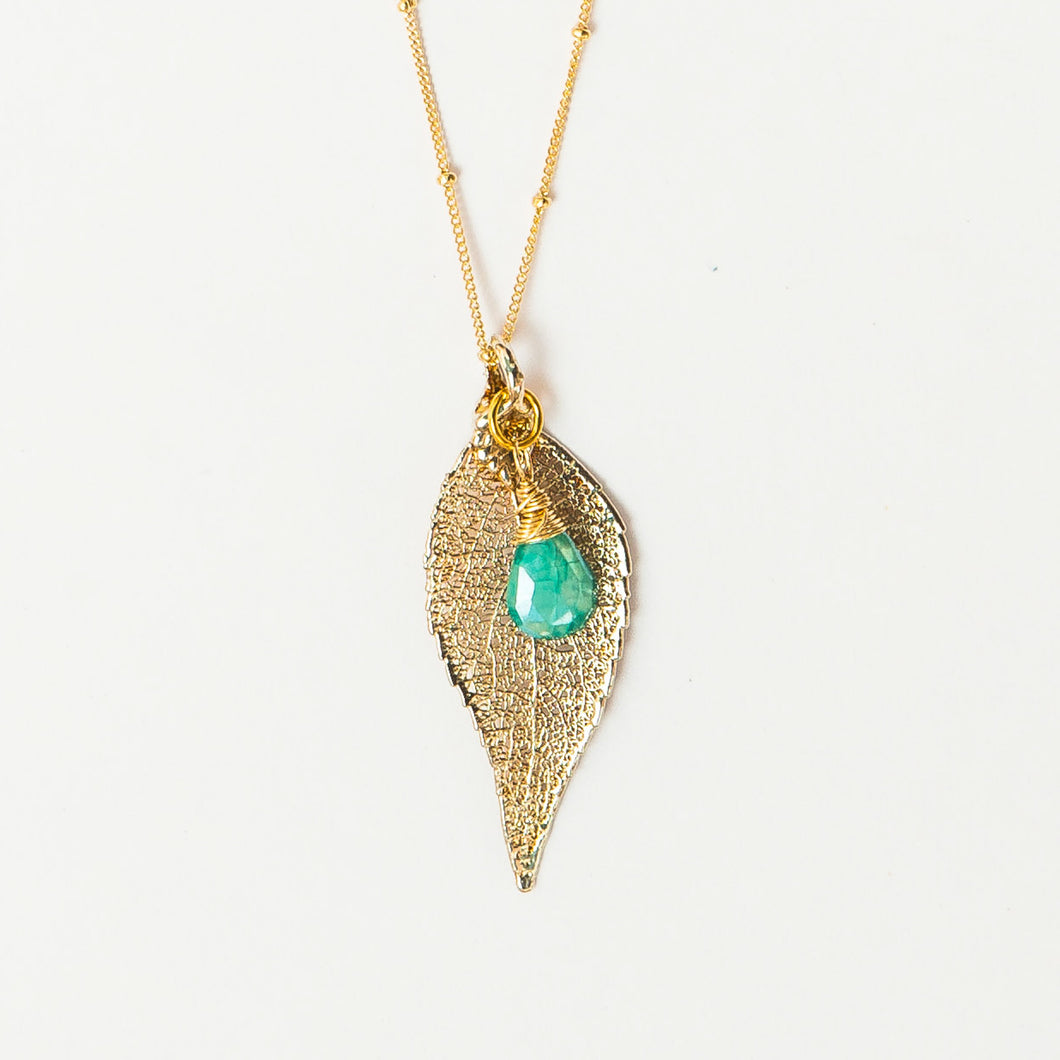 silver evergreen leaf and teal moonstone | gold filled satellite chain