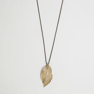 Silver plated Evergreen leaf necklace on oxidized silver chain