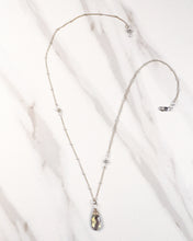 labradorite karma drop necklace | silver