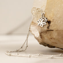 silver little lotus necklace