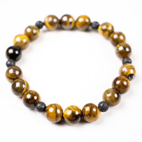 lava stone + tiger eye stretch bracelet