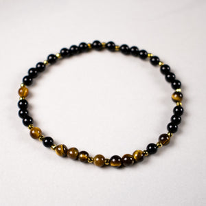 mini bead tiger eye + onyx + pyrite stretch bracelet