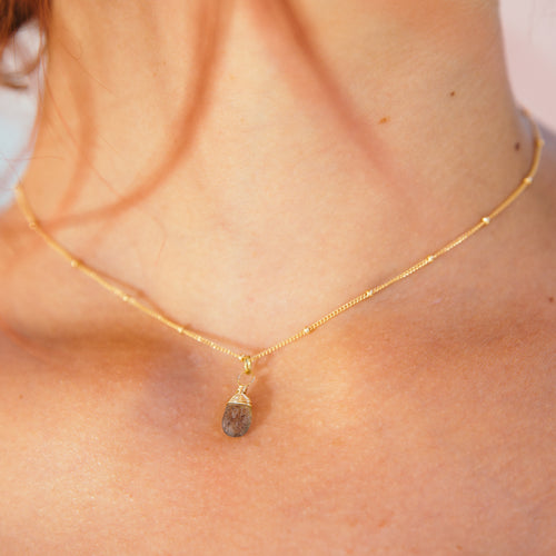 tiny labradorite gemstone necklace 14k gold filled handmade