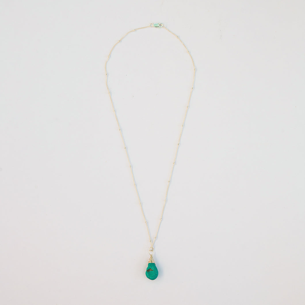 Turquoise karma drop necklace