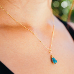 turquoise and rutilated copper gemstone necklace 14k gold filled handmade