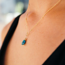 Load image into Gallery viewer, turquoise and rutilated copper gemstone necklace 14k gold filled handmade