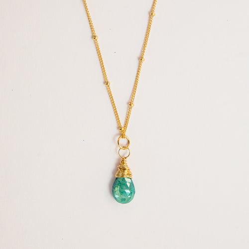 teal turquoise moonstone gemstone necklace 14k gold filled or sterling silver handmade