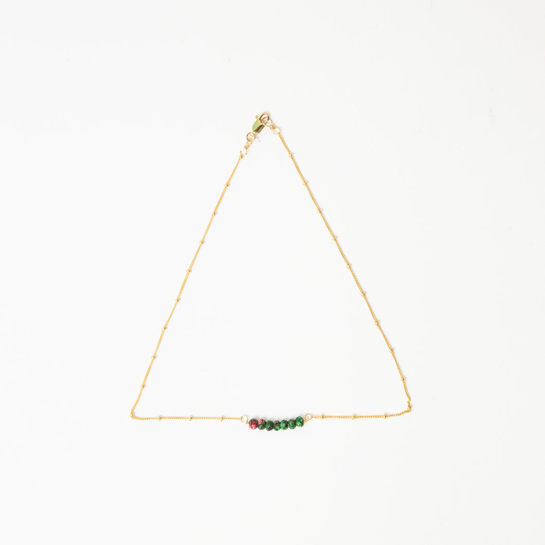watermelon tourmaline tiny gemstone delicate choker necklace 14k gold filled