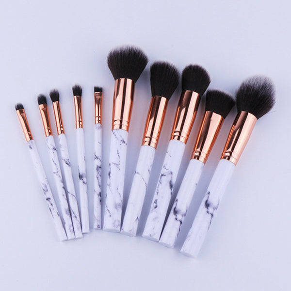 10Pc Set Professional Marbling Handle Makeup Brushes