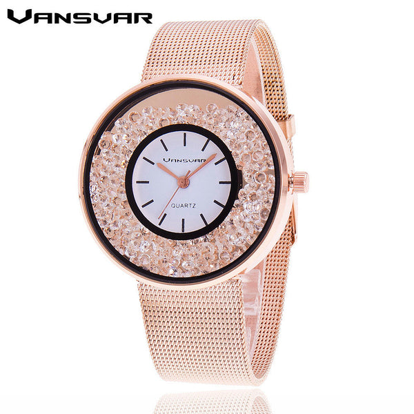 Stainless Steel Gold & Silver Band Quartz Luxury Rhinestone Watch