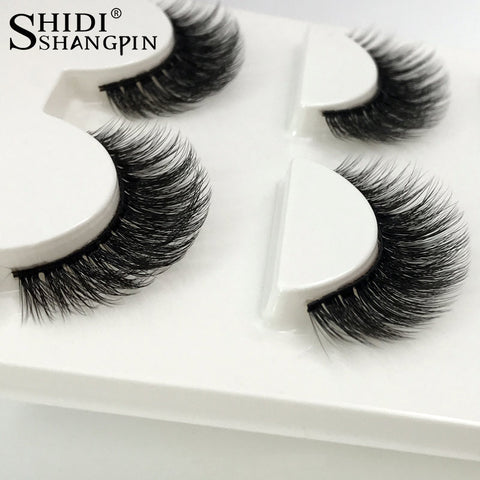 3 Pairs Natural Thick Real 3D Mink Eyelashes