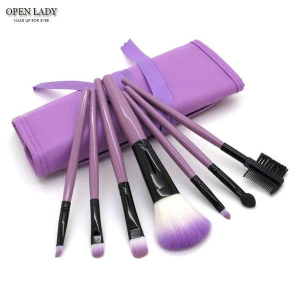 7pc Colorful Professional Makeup Brushes with Case