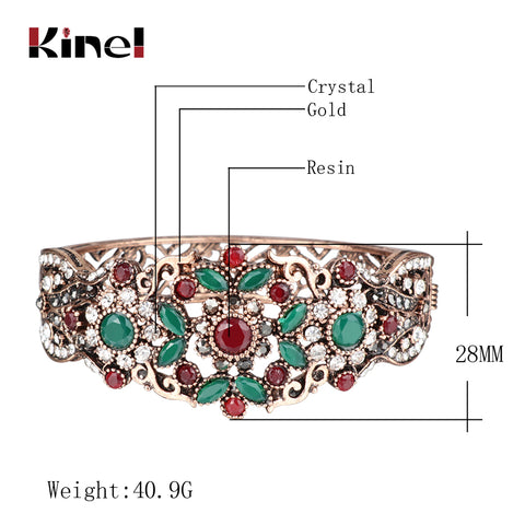 Turkish Vintage Rhinestone Hollow Flower Bracelet