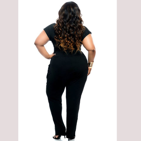 Deep V-neck Jumpsuit - Plus Size