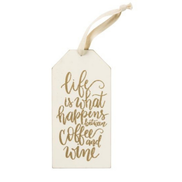 Wine Bottle Tag - Wood and glittery gold