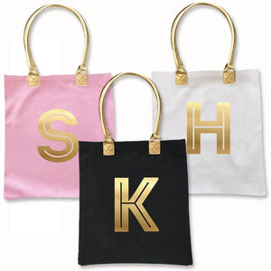 Gold Monogram Tote Bag