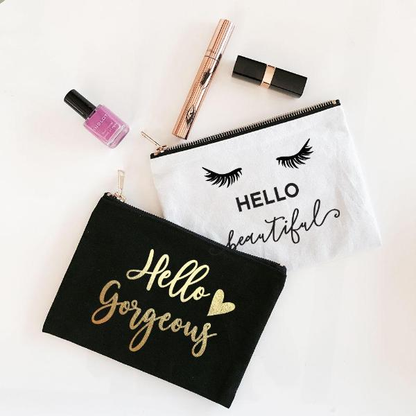 Hello Beautiful Themed Cosmetic Bags - White