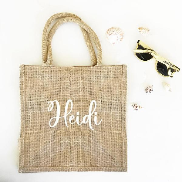 Personalized Burlap Tote Bag