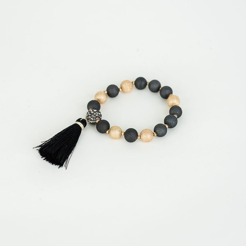 LEAH TASSEL STRETCH BRACELET - BLACK