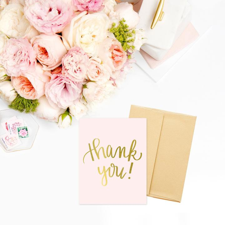 GOLD FOIL PINK THANK YOU - GREETING CARD