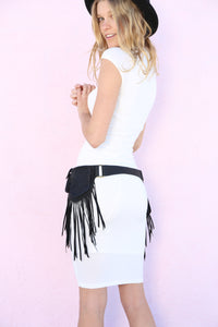 Electric Two Sided Geometric Fringe Belt Bag