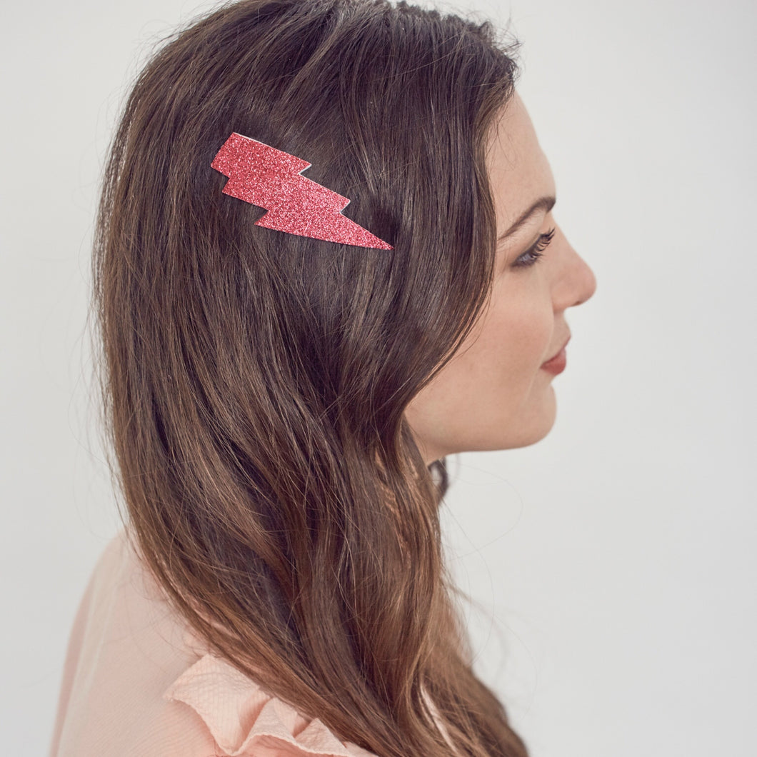 Lightning bolt hairclip - Pink