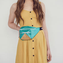 Mini turquoise and gold bumbag