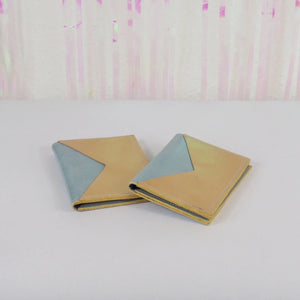 Light Blue & Gold leather card holder