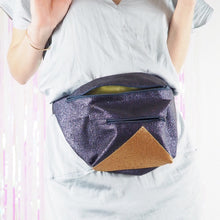 Midnight blue & gold large bumbag