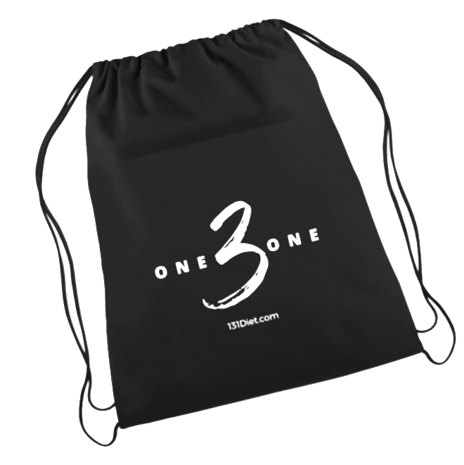 The 131 Hydration System Carrying Bag (made of black lightweight cotton with organizational compartments and drawstring closure)