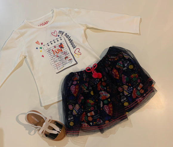 Notepad Tshirt & Rainbow skirt Set