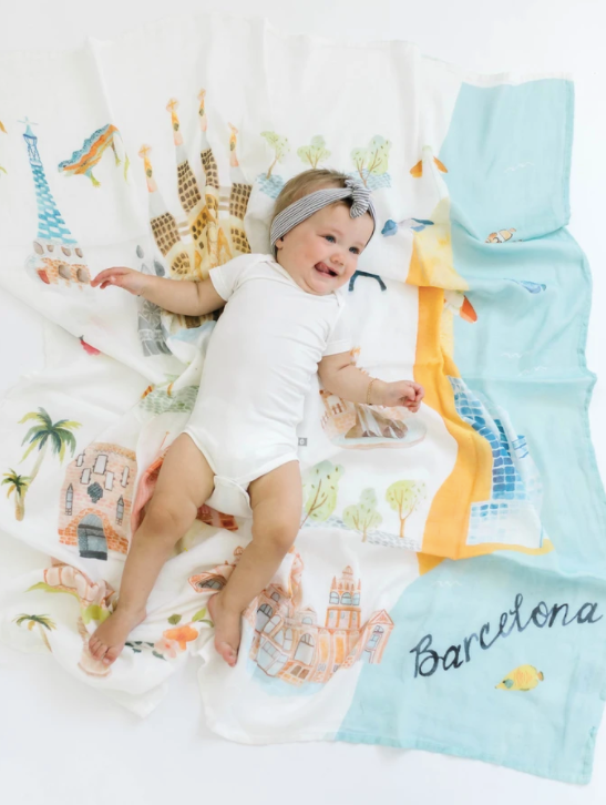 Loulou LOLLIPOP Ecofriendly   Muslin Swaddle - Barcelona